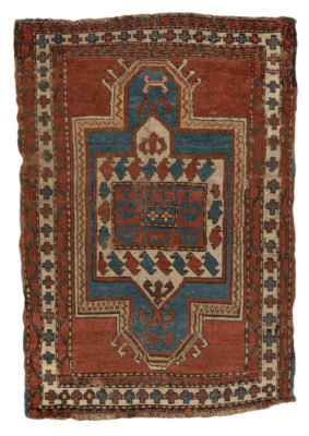 Hand knotted in the 19th century in a village in the Southwest Caucasus, probably by an Armenian woman. This piece would have been woven on a horizontal nomadic loom using the Ghiordes (Turkish/symmetric) knot with wool pile (knots) on a wool foundation (warps and wefts). The word, 'Kazak' means 'rough-rider' and describes a race of restless, roaming, troublesome people. This antique rug has a vintage look that many people look for.
