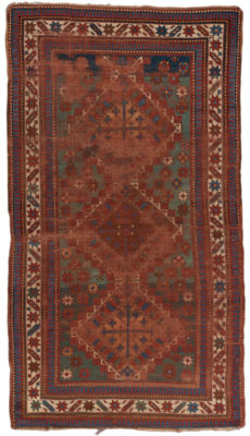 Hand knotted in the 19th century in a village in the Southwest Caucasus, probably by an Armenian woman. This piece would have been woven on a horizontal nomadic loom using the Ghiordes (Turkish/symmetric) knot with wool pile (knots) on a wool foundation (warps and wefts). The word, 'Kazak' means 'rough-rider' and describes a race of restless, roaming, troublesome people. This antique rug is worn, and that is exactly what makes it so cool. The Kazakh will be an awesome addition to any space.