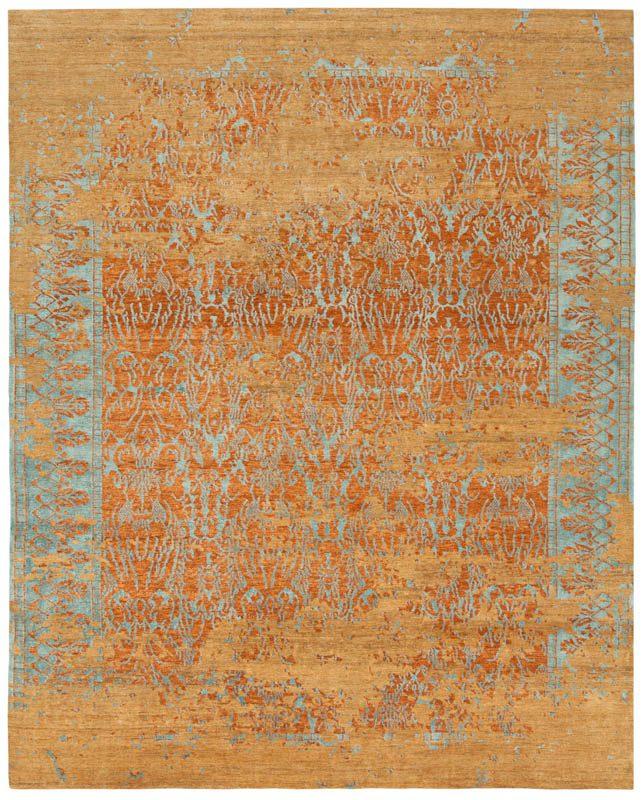 Tibetan Coral Reef Orange/Teal Wool And Silk Rug