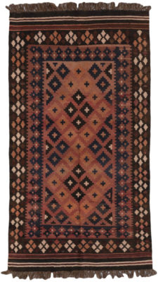 Handwoven in northern Afghanistan by Turkmen women in the village of Maimana using wool from their own sheep. The village is renowned for these simple, yet sophisticated weavings.