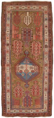 Hand knotted in the southern Caucasus close to Kazak, bordering modern day north-eastern Iran. The weave is distinct; after every two rows of knots the weft is shot through twice. Karabaghs represent the best in quality and design among the antique rug styles of the Caucasus. This piece is no exception. The design is extremely unusual, and the colors unique. This antique Karabagh rug is in excellent condition for its age.