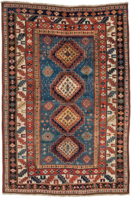 Hand knotted in the 19th century in a village in the Southwest Caucasus, probably by an Armenian woman. This piece would have been woven on a horizontal nomadic loom using the Ghiordes (Turkish/symmetric) knot with wool pile (knots) on a wool foundation (warps and wefts). The word, 'Kazak' means 'rough-rider' and describes a race of restless, roaming, troublesome people. This antique rug is in excellent condition, a truly stunning piece.