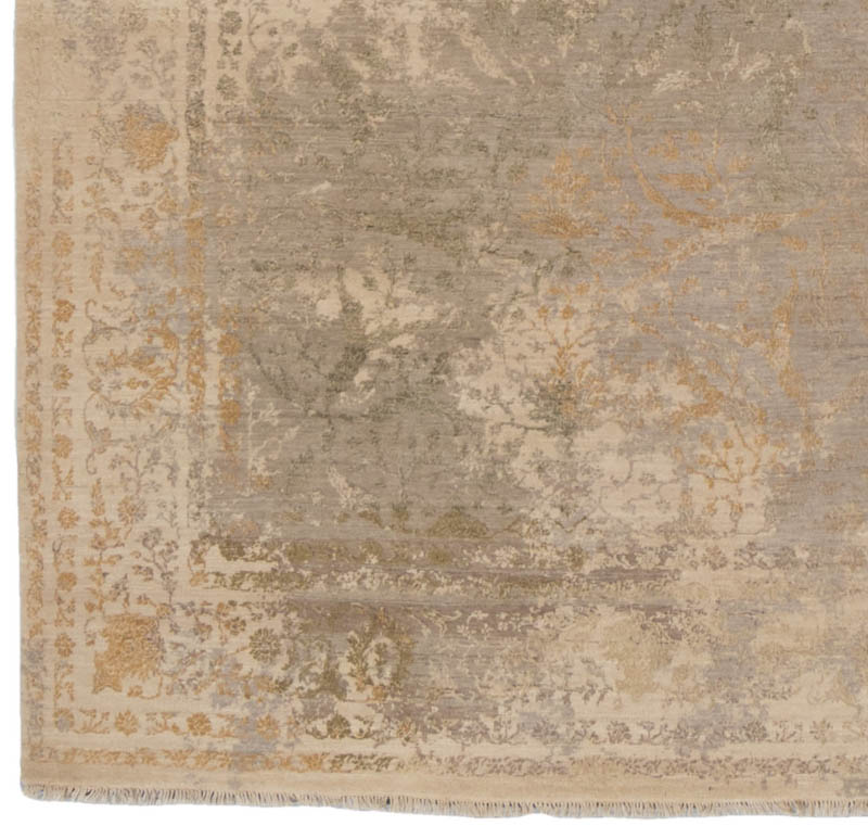 Heirloom Transitional Fine Wool And Silk Ivory Green Gray