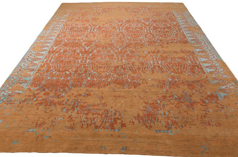 Tibetan Coral Reef Orange Teal Wool And Silk Rug