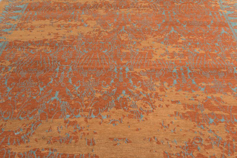 Tibetan Coral Reef Orange Teal Wool And Silk Rug