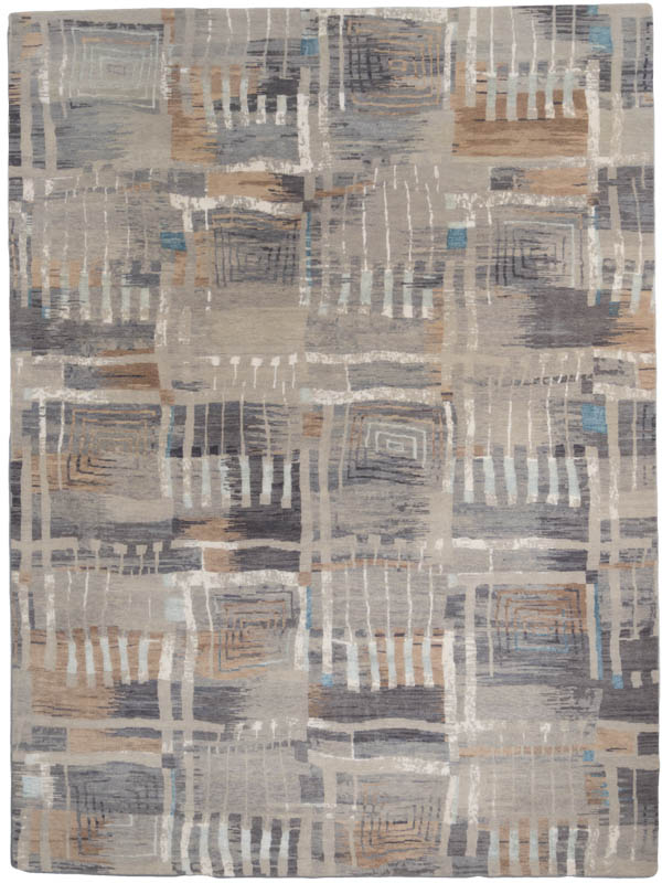 modern wool and silk rug