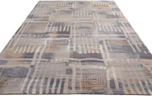 38591-Ultimate_Modern_Verve_Gray_Silver_Ivory_Wool_and_Silk_Rug-9'0''x12'1''-India-2