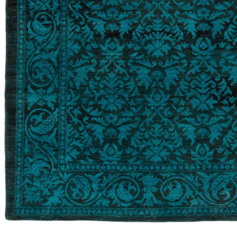 Overdyed Reserve Damask Teal Black Wool Rug