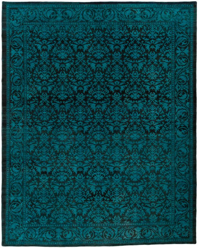 Overdyed Reserve Damask Teal Black Wool Rug