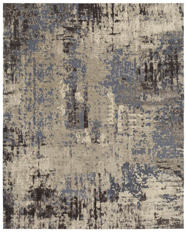 Kangmar Contemporary Arcadia Blue Gray Ivory Wool Amp Silk