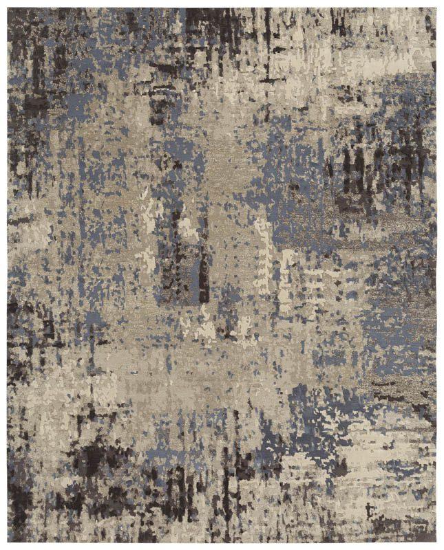 Wool Silk Rugs Contemporary: Kangmar Contemporary Arcadia Blue/Gray/Ivory Wool & Silk