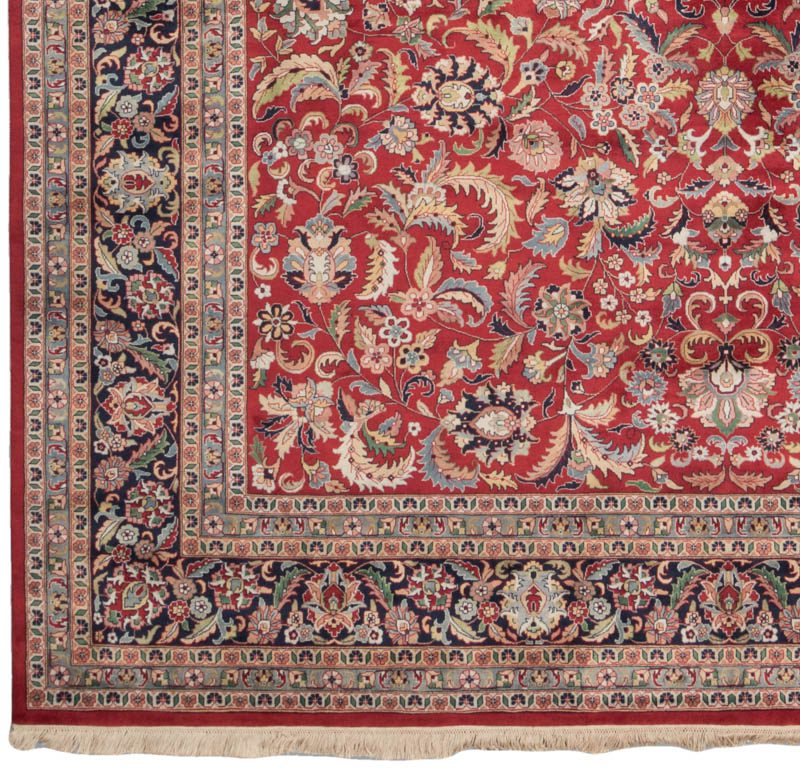 Fine kashan red navy wool rug kebabian 39 s rugs for Red and navy rug