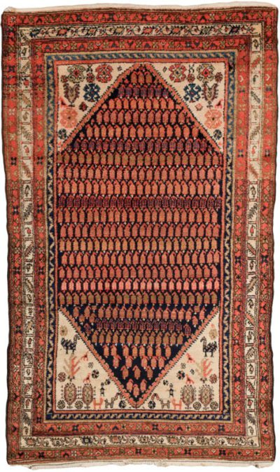 antique hamadan boteh rug