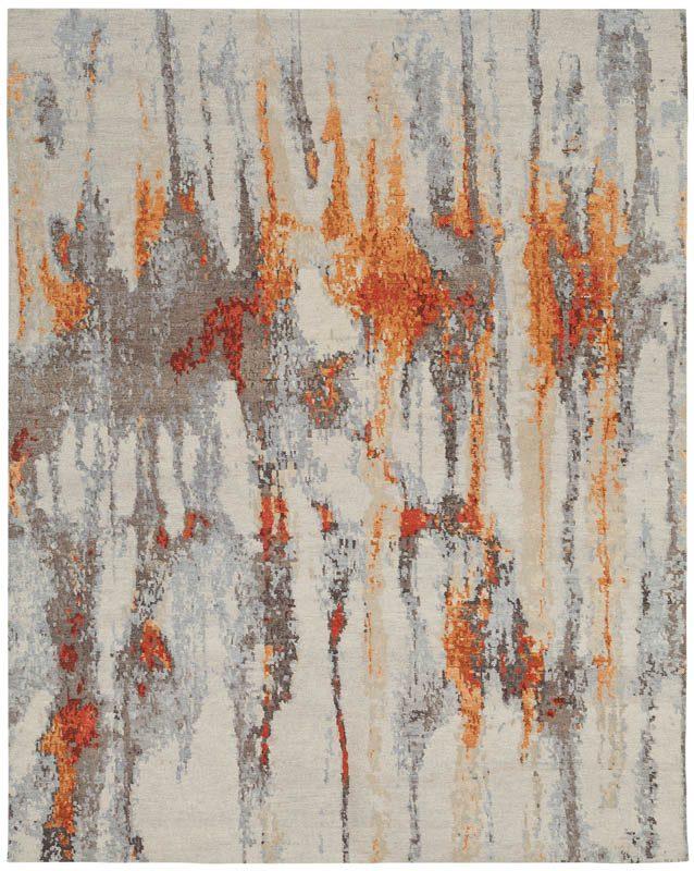 Tibetan Acide Gray Orange Wool And Silk Rug