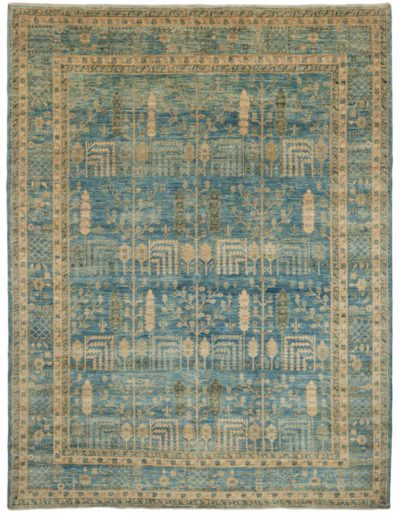 blue transitional rug