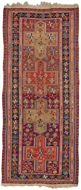 antique caucasian soumak runner rug