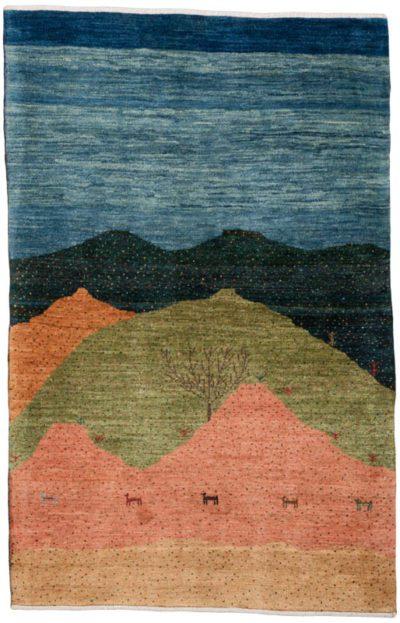 persian gabbeh folk life rug