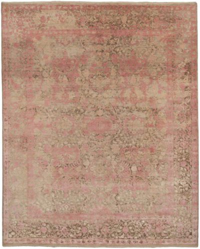 transitional wool and silk pink rug