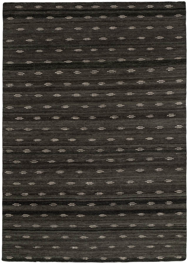 Minimal One Charcoal Merino Wool Flatweave Rug Kebabian