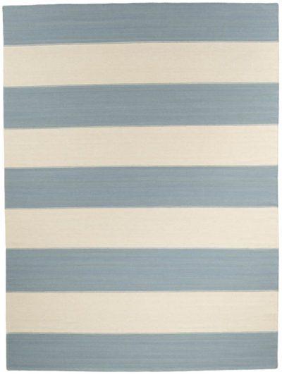 blue stripe flatweave rug