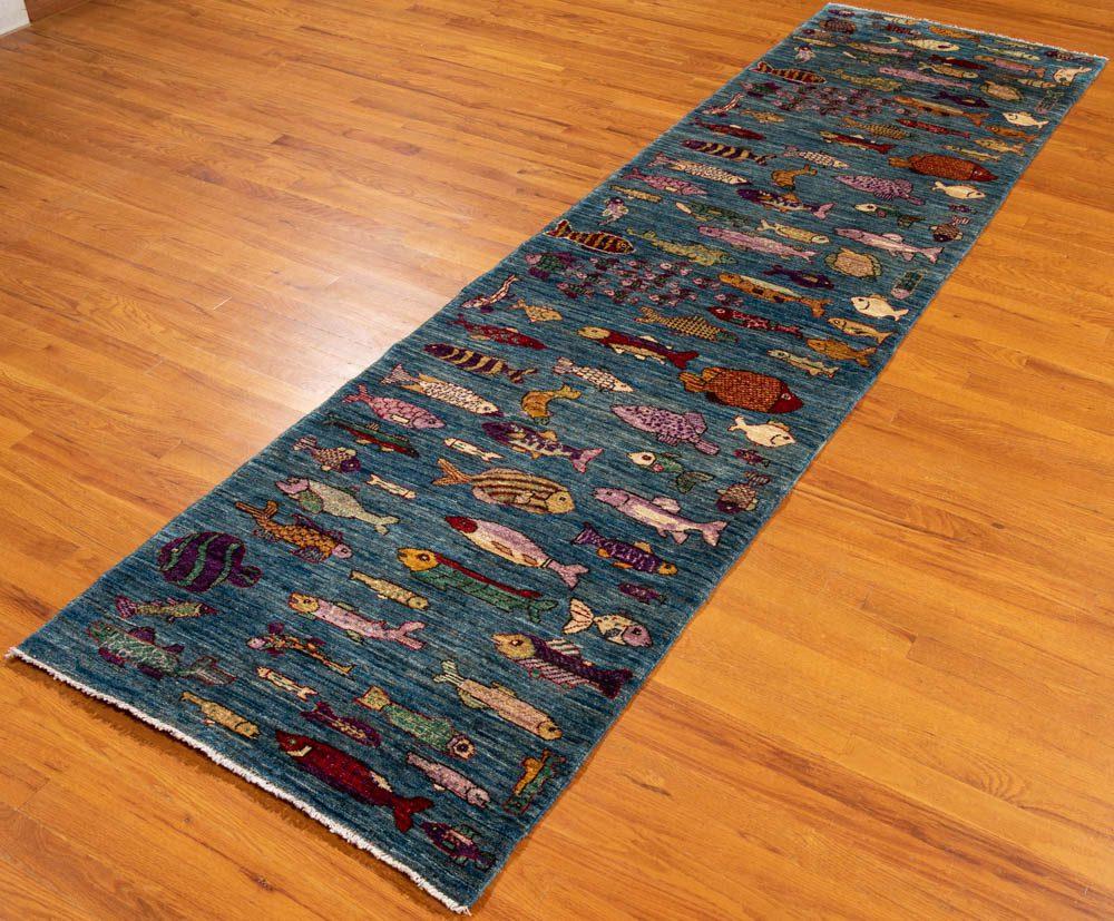 Contemporary Fish Blue Wool Runner Rug Kebabian S Rugs