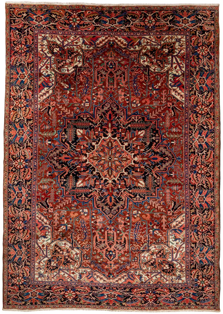 semi-antique persian heriz rug