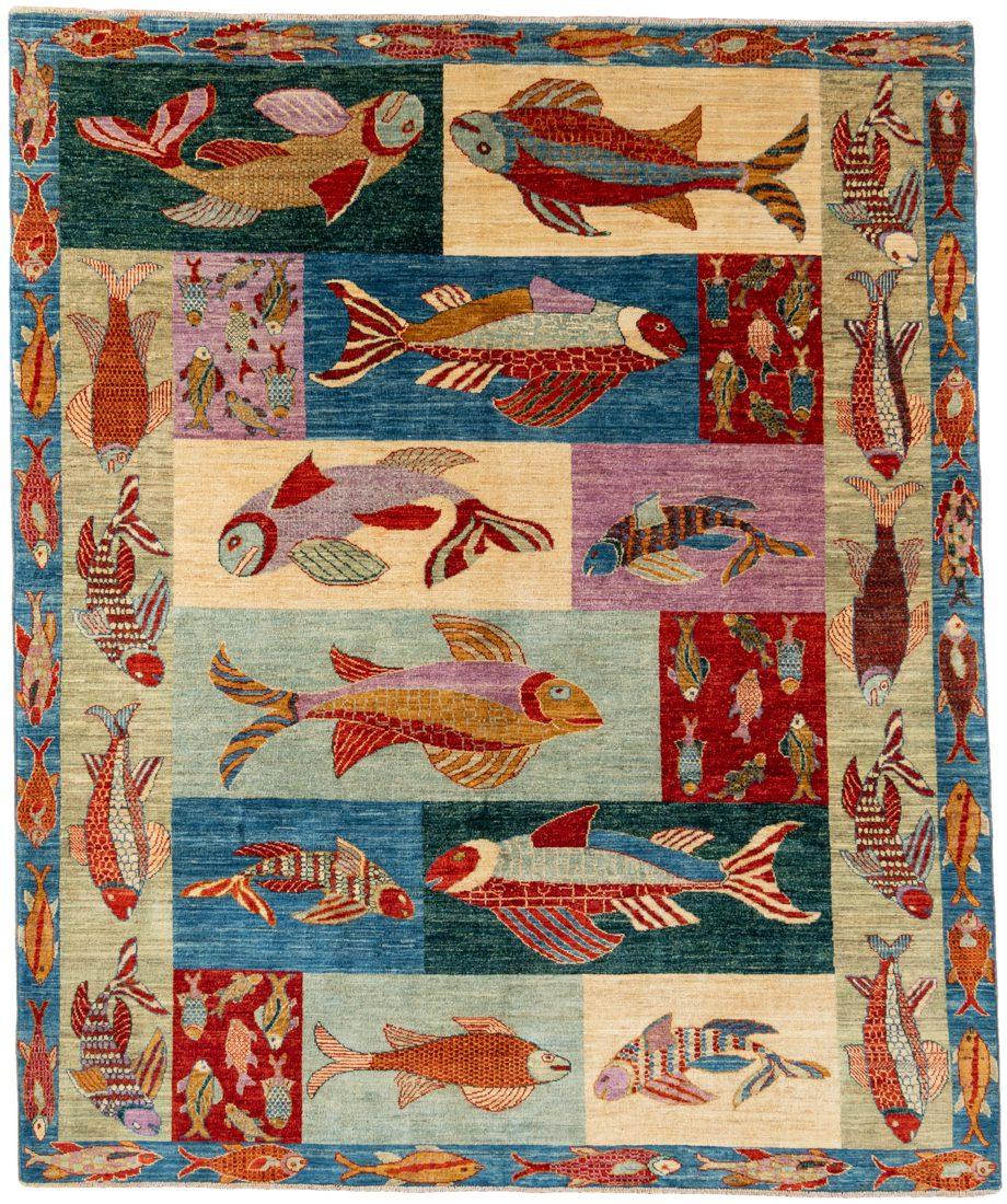 contemporary panel fish wool rug